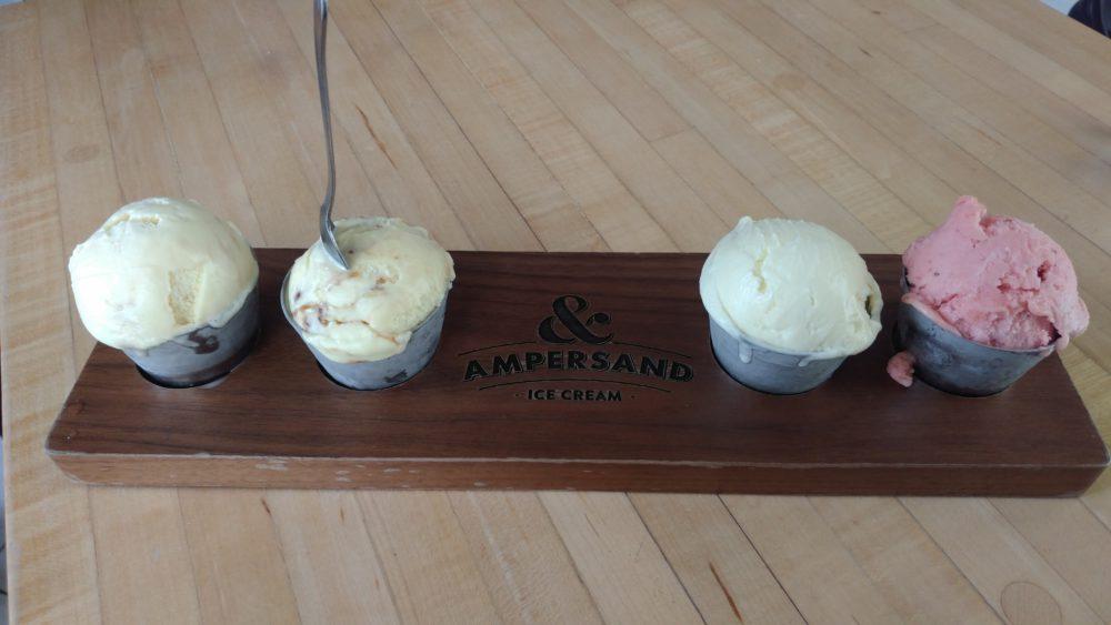 Ampersand Flight of Ice Creams- Whiskey Caramel Swirl, Grizzly Jack, Tahitian Vanilla Lavender, Strawberry Orange Sorbet